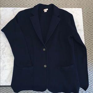 J. Crew Factory Merino Wool Sweater Blazer in Navy